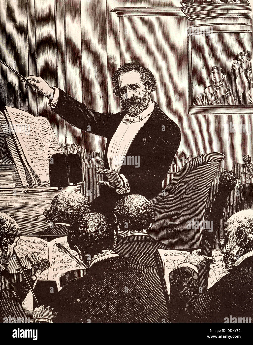 Giuseppe Verdi conducting one of his operas - Stock Image