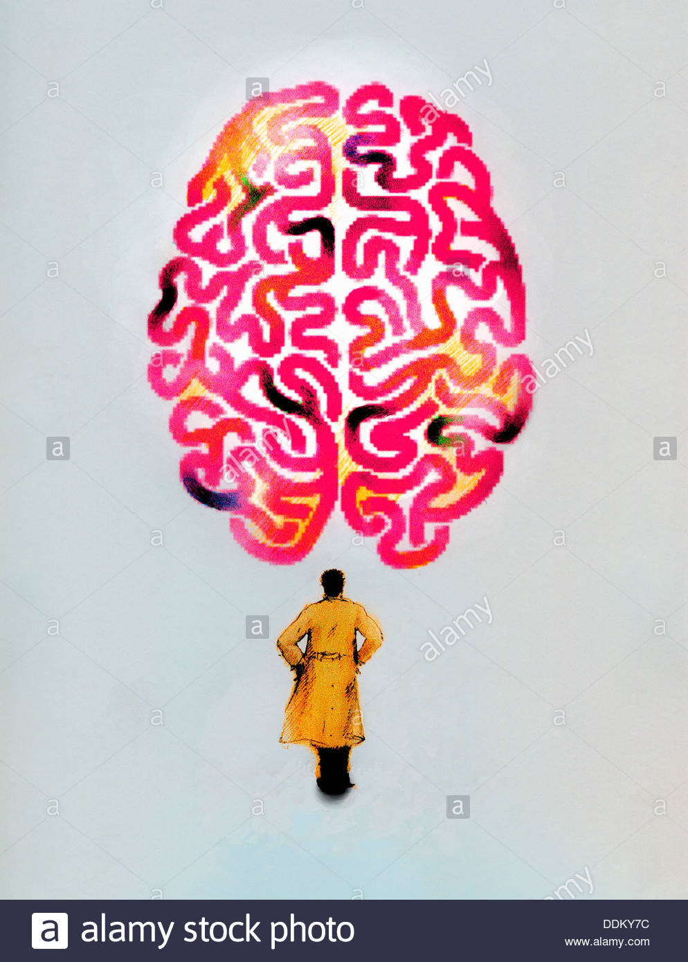 Man in trench coat looking up at large brain - Stock Image