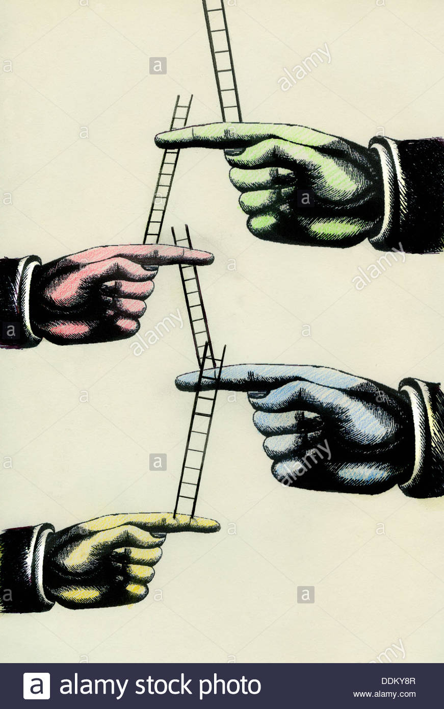 Large fingers supporting ladders - Stock Image