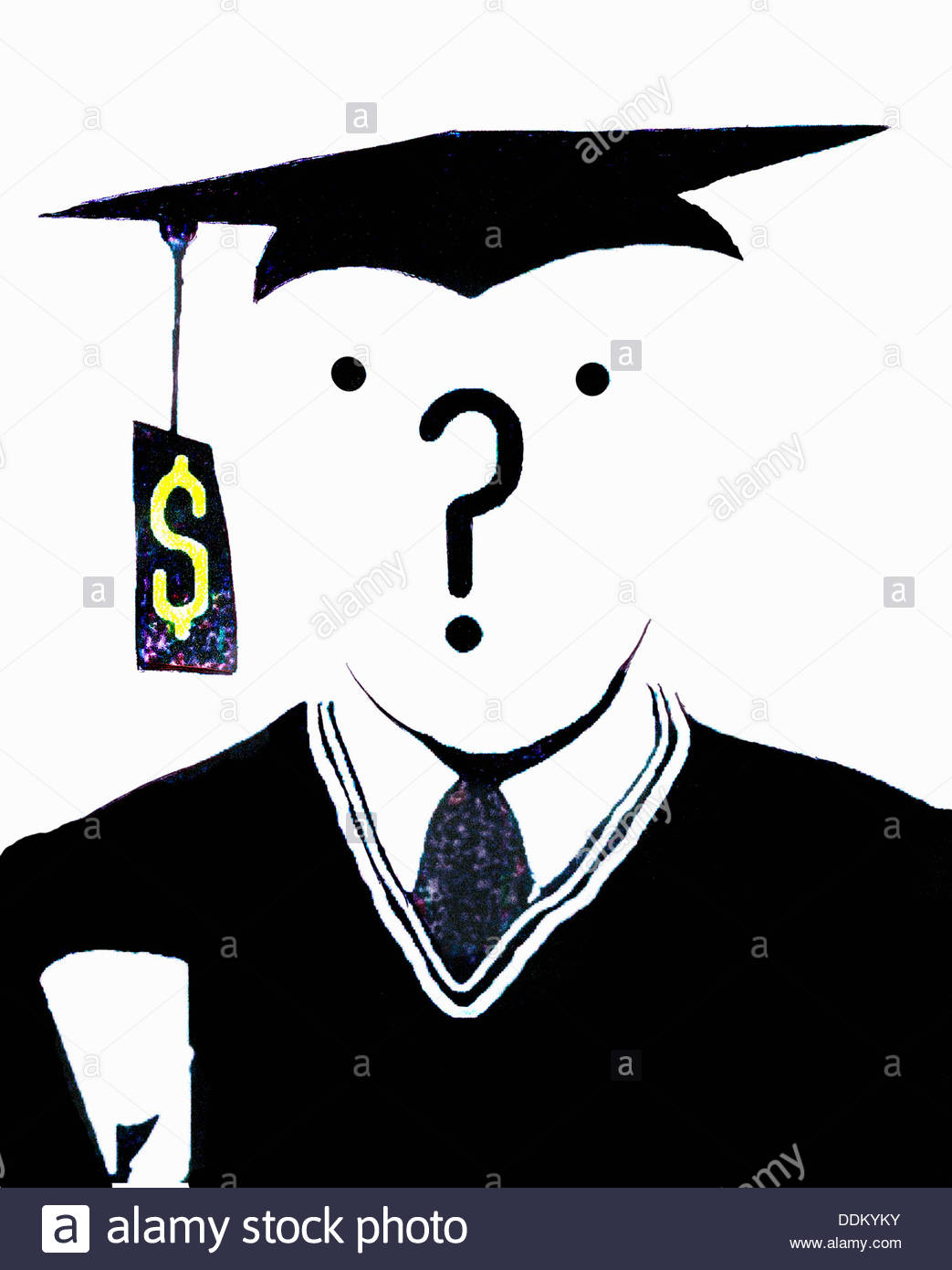 Question mark over face of graduate with dollar sign price tag on mortarboard - Stock Image