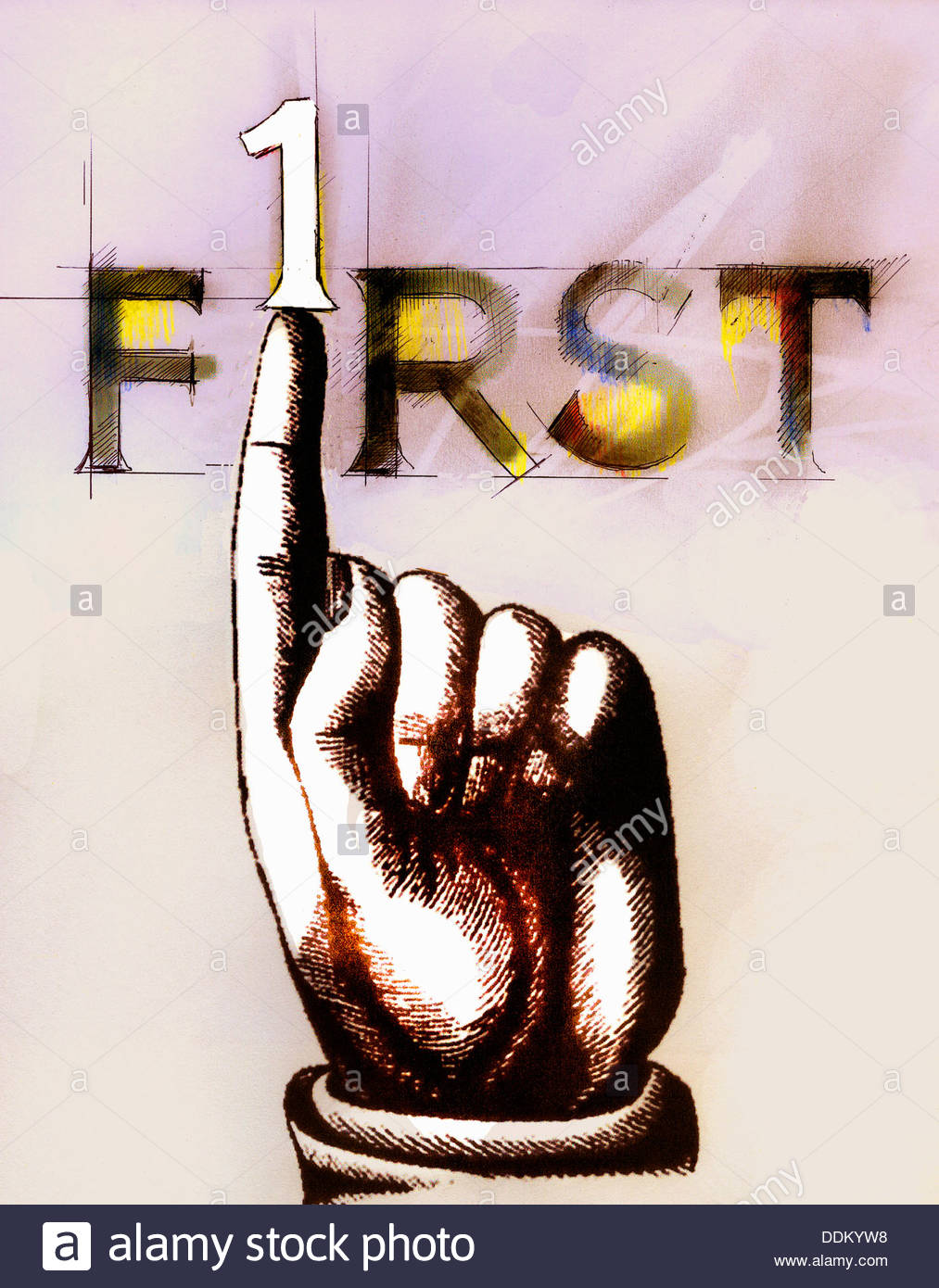 Finger pushing number 1 from 'First' text - Stock Image