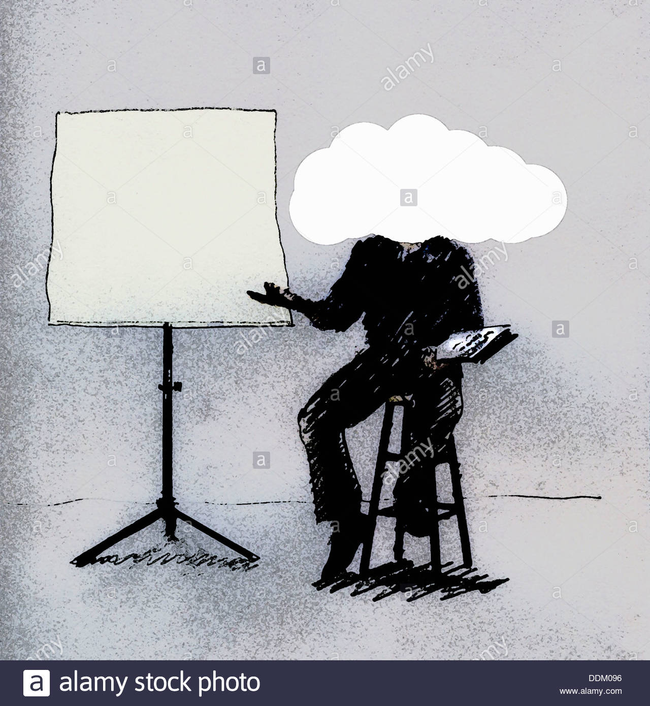 Man with head in cloud sitting beside blank projection screen - Stock Image