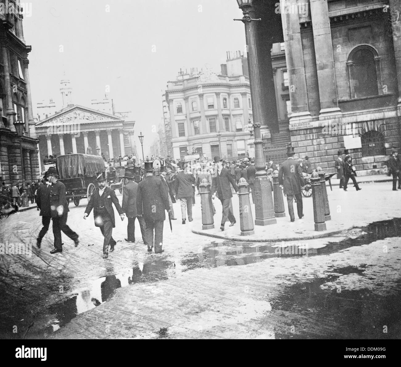 Businessmen by the Bank of England and the Royal Exchange, City of London, (1920s?). Artist: John H Stone Stock Photo