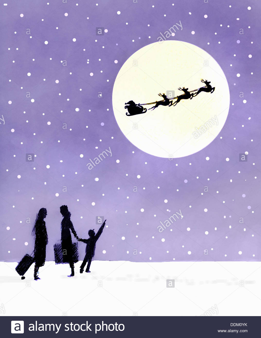 Child with mother looking up at silhouette of Santa Claus and reindeer in full moon - Stock Image
