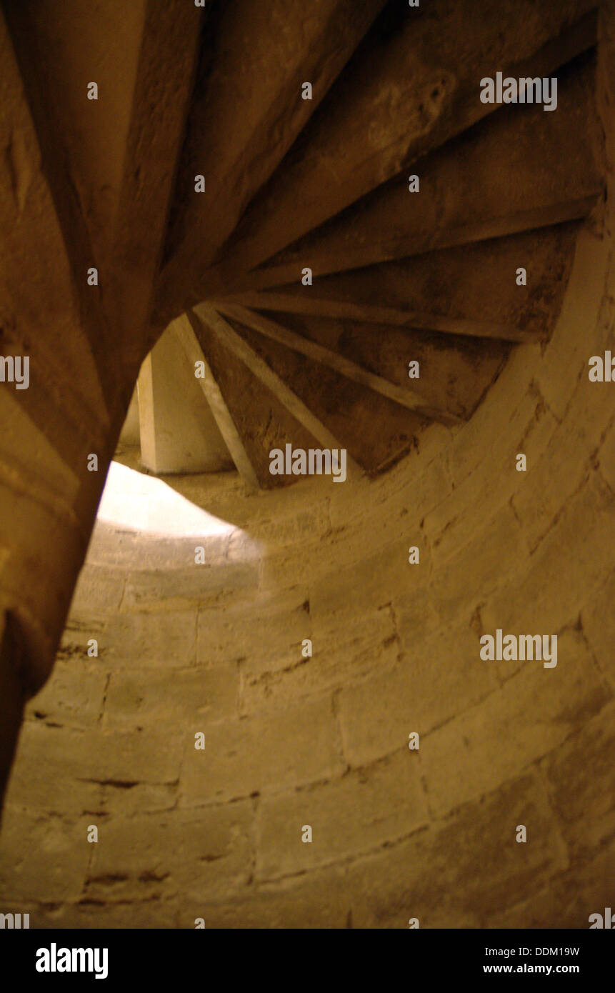 Spiral staircases of Olite's (Navarra, Spain) Royal Palace - Stock Image
