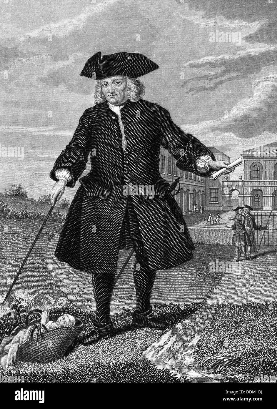 Thomas Coram outside the Foundling Hospital, London, (c1750?). - Stock Image