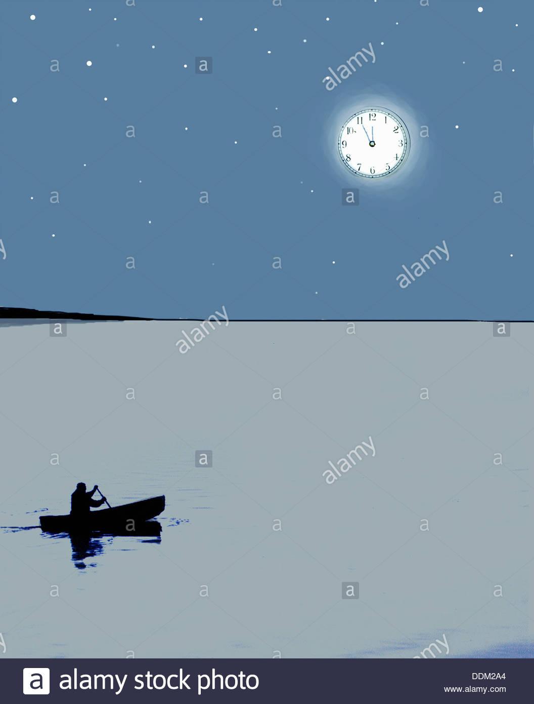 Man in canoe under clock moon at midnight - Stock Image