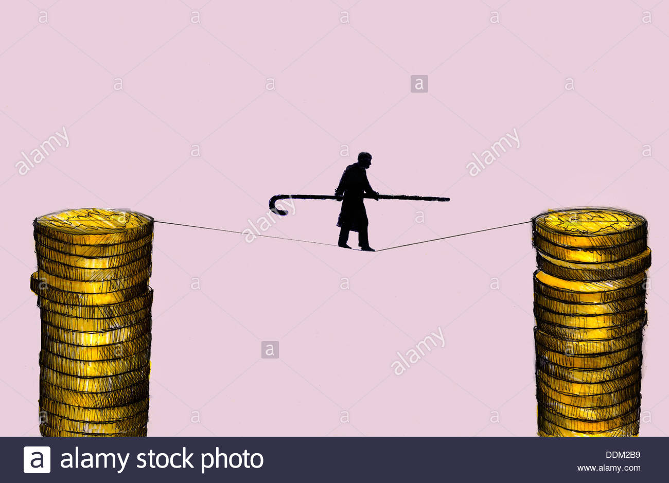 Elderly man with cane walking on tightrope supported by stacks of coins - Stock Image