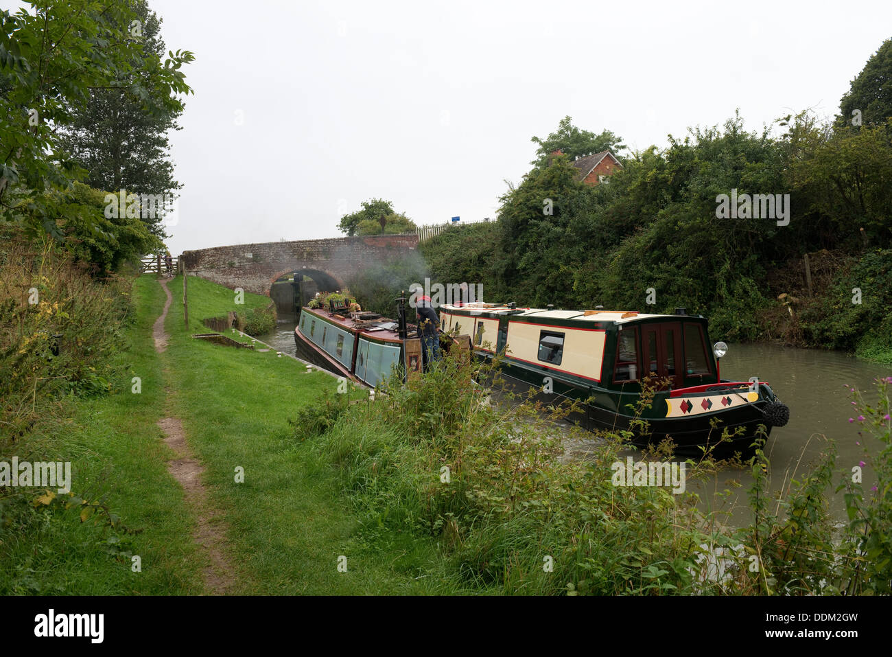 Narrow Boats on the Kennet and Avon Canal at Crofton, Wiltshire -1 - Stock Image