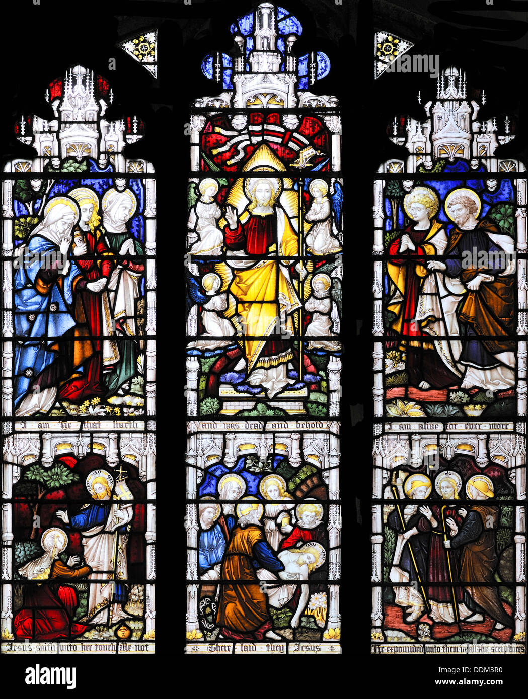 Scenes from 'The Resurrection', by Clayton and Bell, St Peter's Church, Stainforth, Yorkshire, England - Stock Image