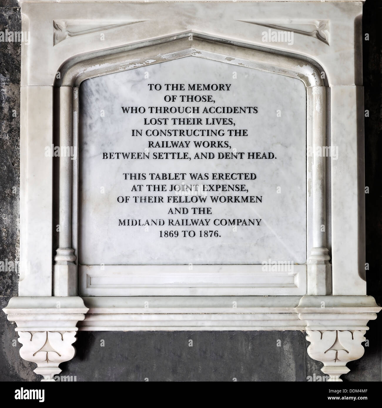 Memorial to the workmen who died building Blea tunnel and the Ribblehead viaduct, Chapel Le Dale, Yorkshire, England - Stock Image