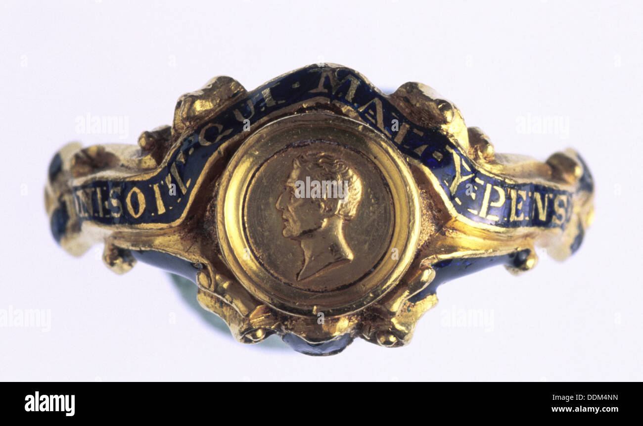 Commemorative ring of the Duke of Wellington, 1852. - Stock Image