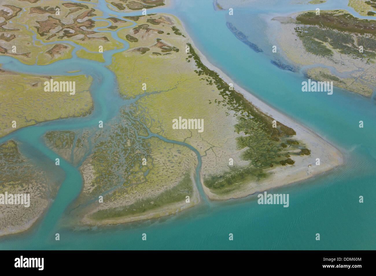 Costa De La Luz Spain Map.Aerial View On Marshlands Bahia De Cadiz Natural Park Costa De La
