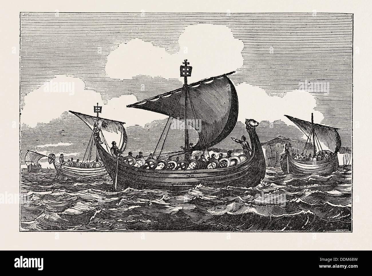 SHIPS OF WILLIAM THE CONQUEROR 1066 Stock Photo