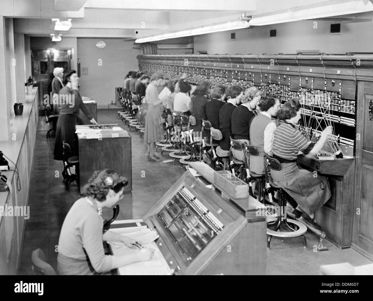 Telephone exchange at Cadley Hall, London, March 1951. - Stock Image