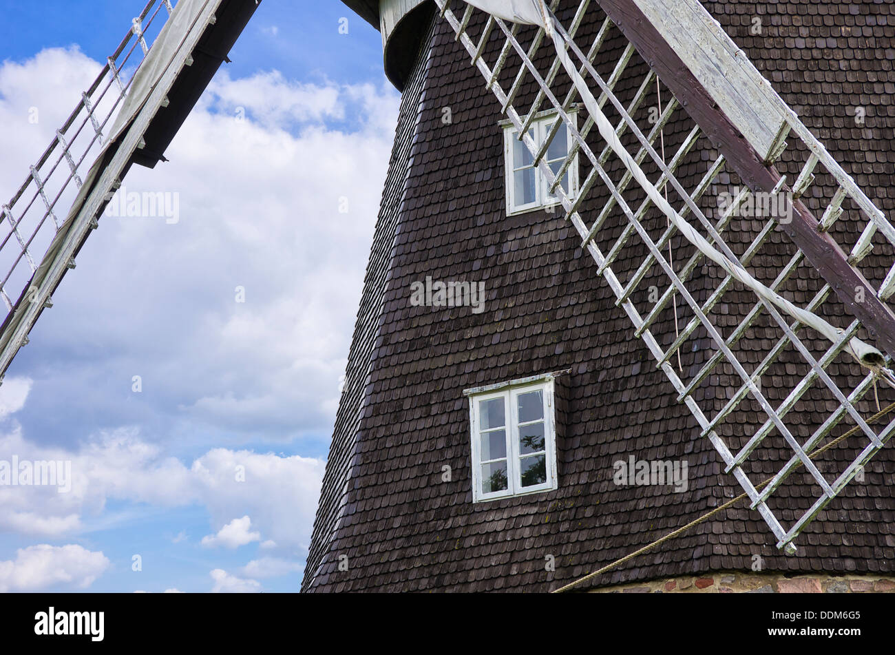 Historic Windmill, Woldegk, Mecklenburg, Germany - Stock Image