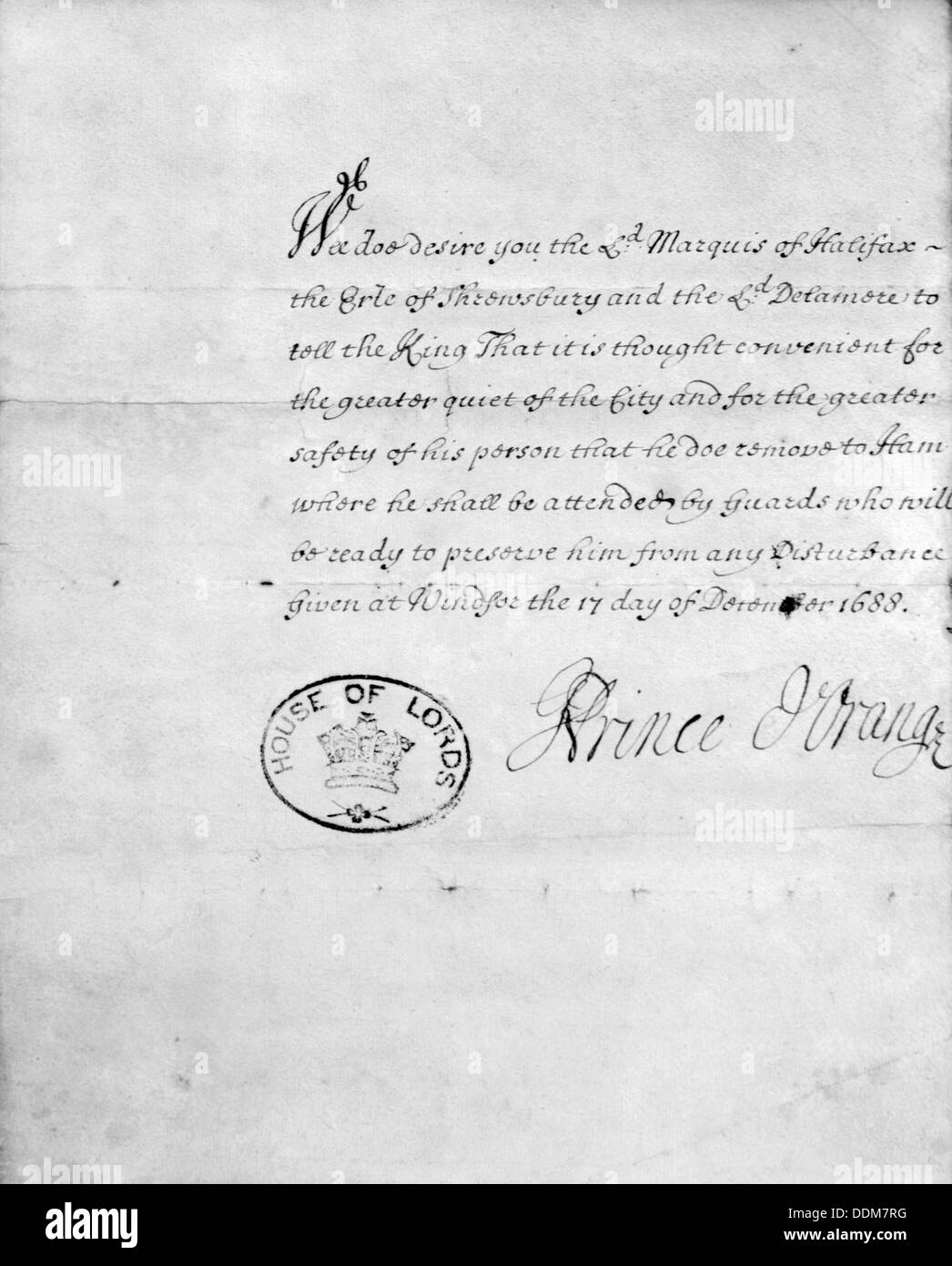 House of Lords document, signed Prince d'Orange, 1688. Artist: King William III - Stock Image