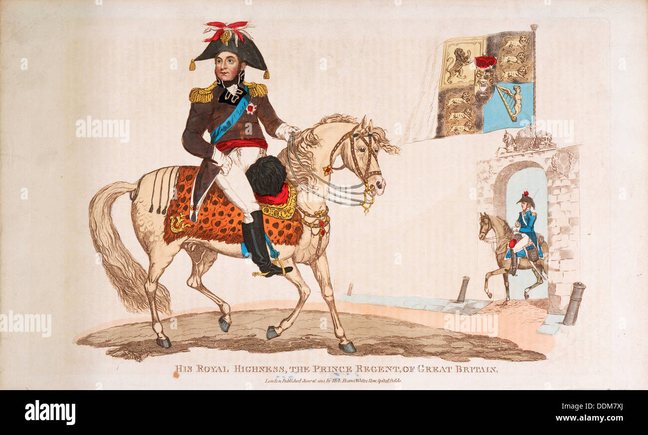King George IV as Prince Regent, 1815. - Stock Image