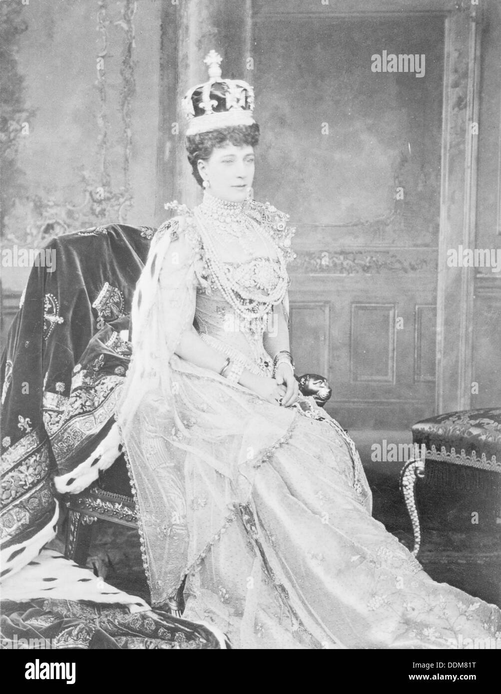 Queen Alexandra, consort of Edward VII, in her Coronation robes, 1902. - Stock Image