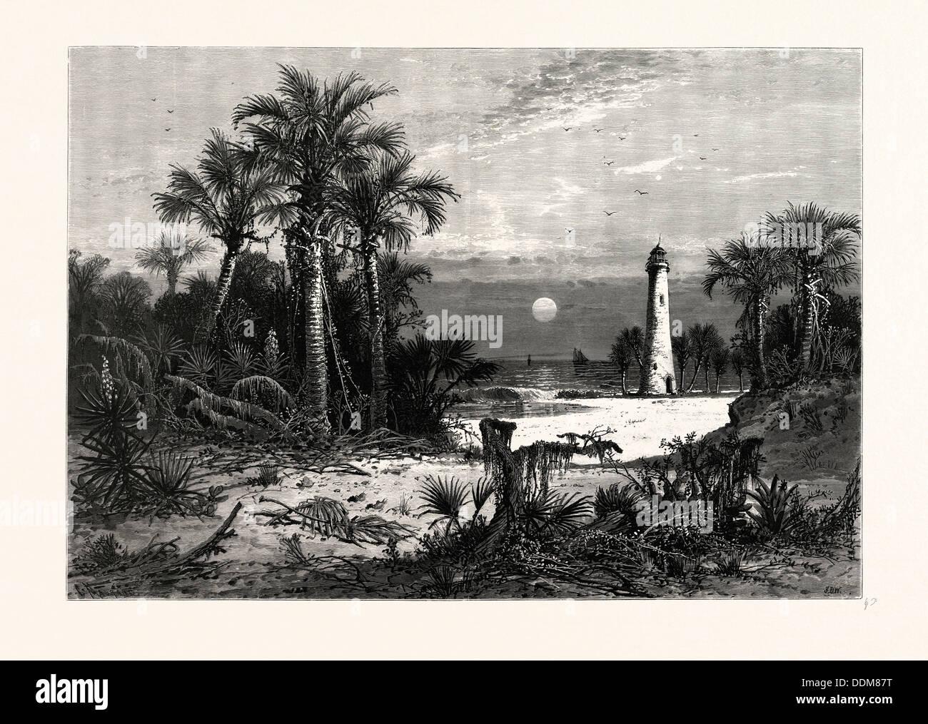 MOONRISE ON THE COAST OF FLORIDA. J.D. WOODWARD - Stock Image