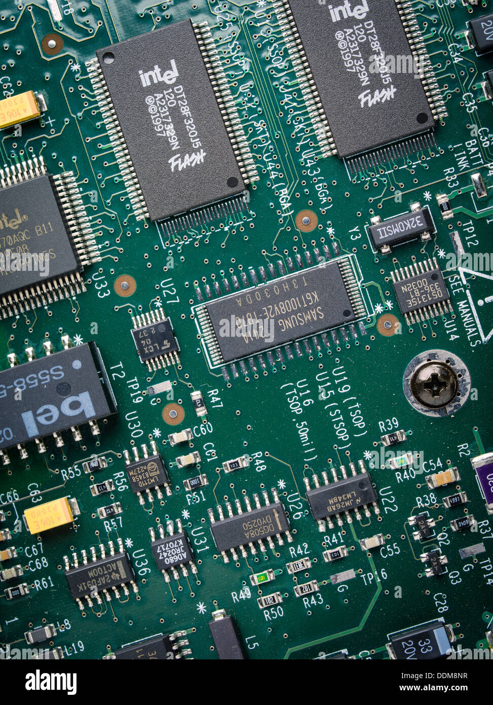 Circuit Board Stock Photos Images Alamy Microchips In Old Printed Photo Intel Microchip Flash Memory Image