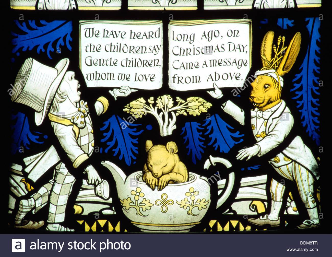 Lewis Carroll memorial window, Daresbury Church, Cheshire. Artist: Tim Smart - Stock Image