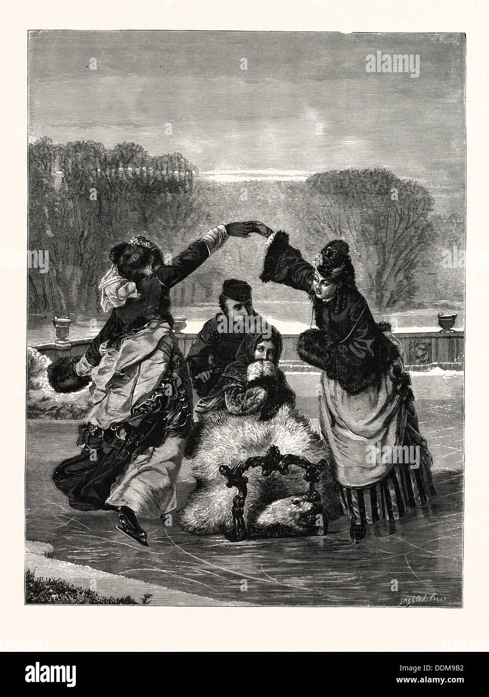 WINTER PASTIMES, Skating. - Stock Image