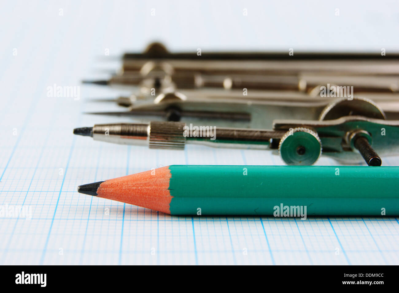 old drawing tools on graph paper stock photo 60068076 alamy