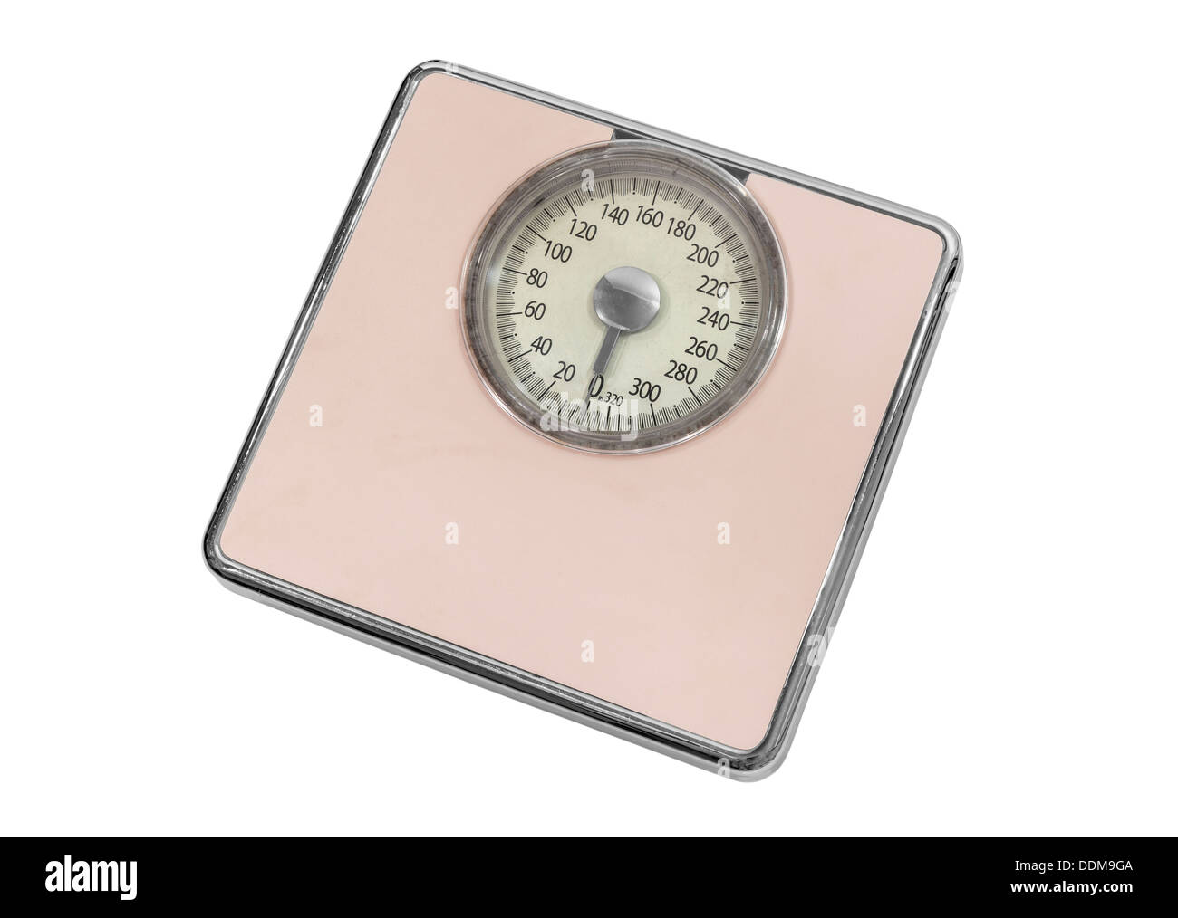 Vintage pink home weight scale isolated with clipping path. - Stock Image