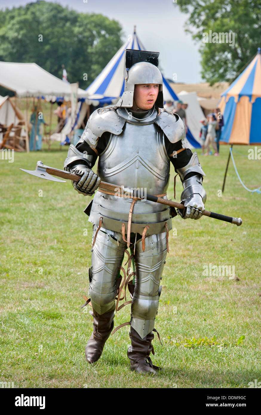 The 'Berkeley Skirmish' medieval reinactments at Berkeley Castle near Gloucester where the 500th anniversary - Stock Image