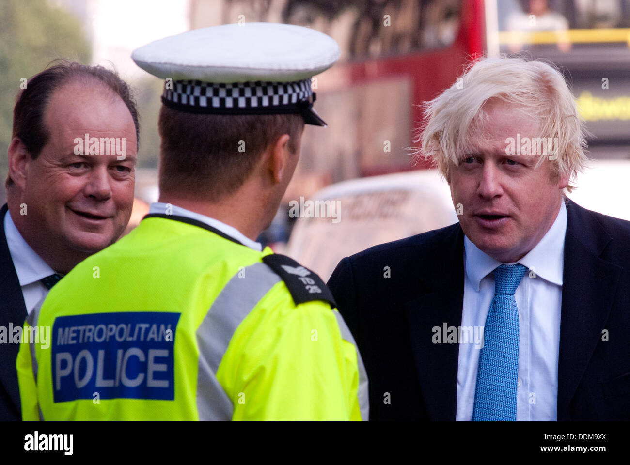 London, UK - 4 September 2013: the Mayor of London Boris Johnson and the Transport Minister Stephen Hammond take part in the Metropolitan Police 'Exchanging Places' event, organised to raise awareness of the safety issues faced by lorry drivers and cyclists. Credit:  Piero Cruciatti/Alamy Live News - Stock Image