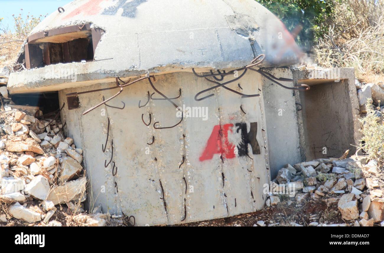Cold war era nuclear shelter near Saranda Albania - Stock Image