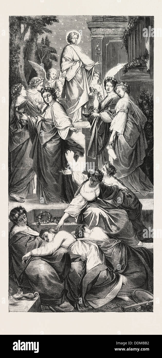 THE WISE AND FOOLISH VIRGINS, From the Picture by Arthur Muller, Mueller - Stock Image