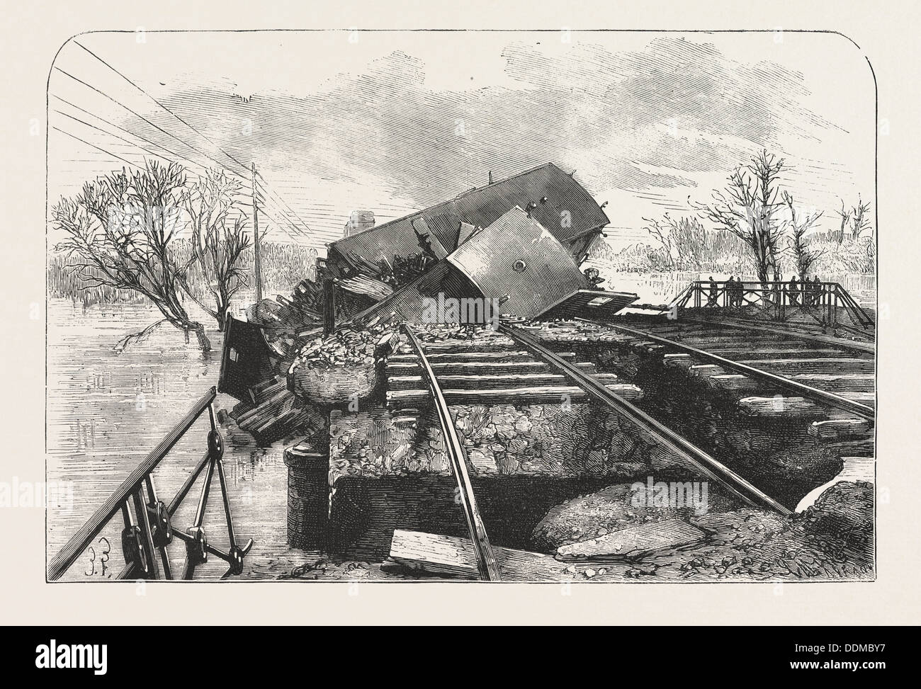 TERRIBLE RAILWAY ACCIDENT IN ALSACE, CAUSED BY THE FALL OF THE BRIDGE OF LUTTERBACH AT THE MOMENT OF THE PASSING OF A TRAIN - Stock Image