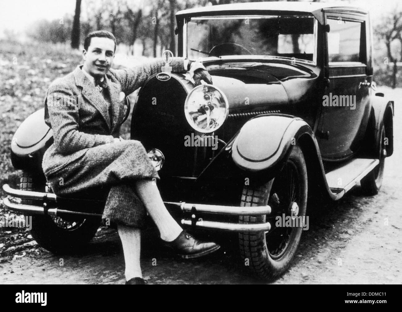 Jean Bugatti pictured with a Bugatti car, 1930s. - Stock Image