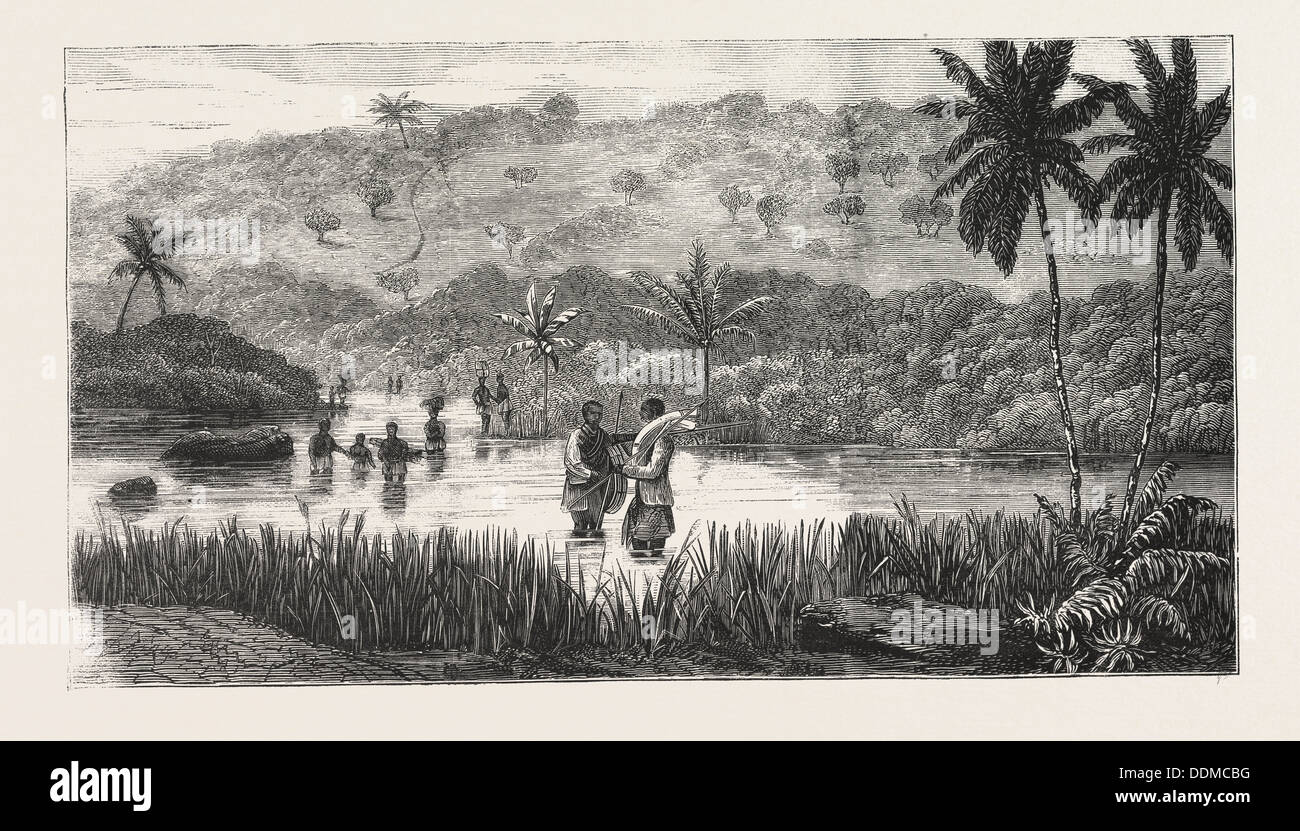 LIEUTENANT CAMERON IN CENTRAL AFRICA, CROSSING THE LUKOJI, ENGRAVING 1876 - Stock Image