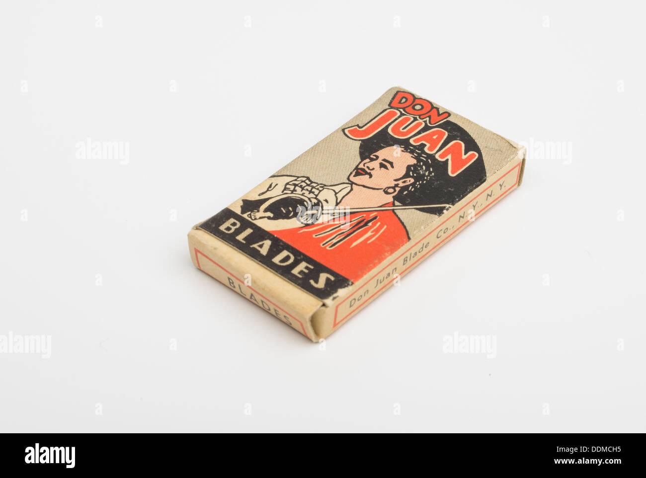 Don Juan shaving blades vintage box from 1960's - Stock Image
