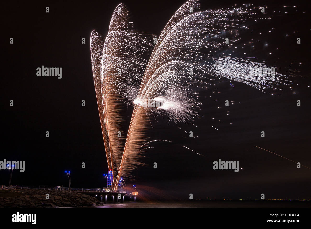 fire crackers or fire works that look like a fountain - Stock Image