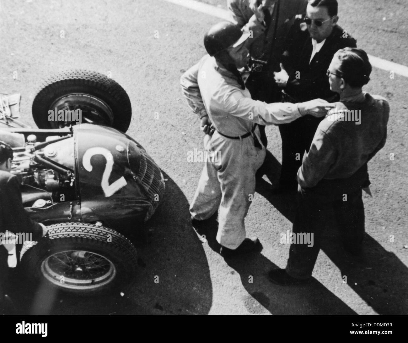Giuseppe Farina and Alfa Romeo 159, French Grand Prix, Rheims, 1951. - Stock Image