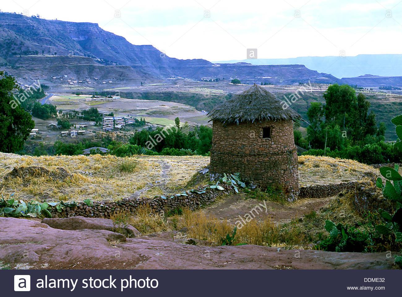 Round stone hut, Lalibela, Ethiopia. Artist: Jacob Lyell - Stock Image