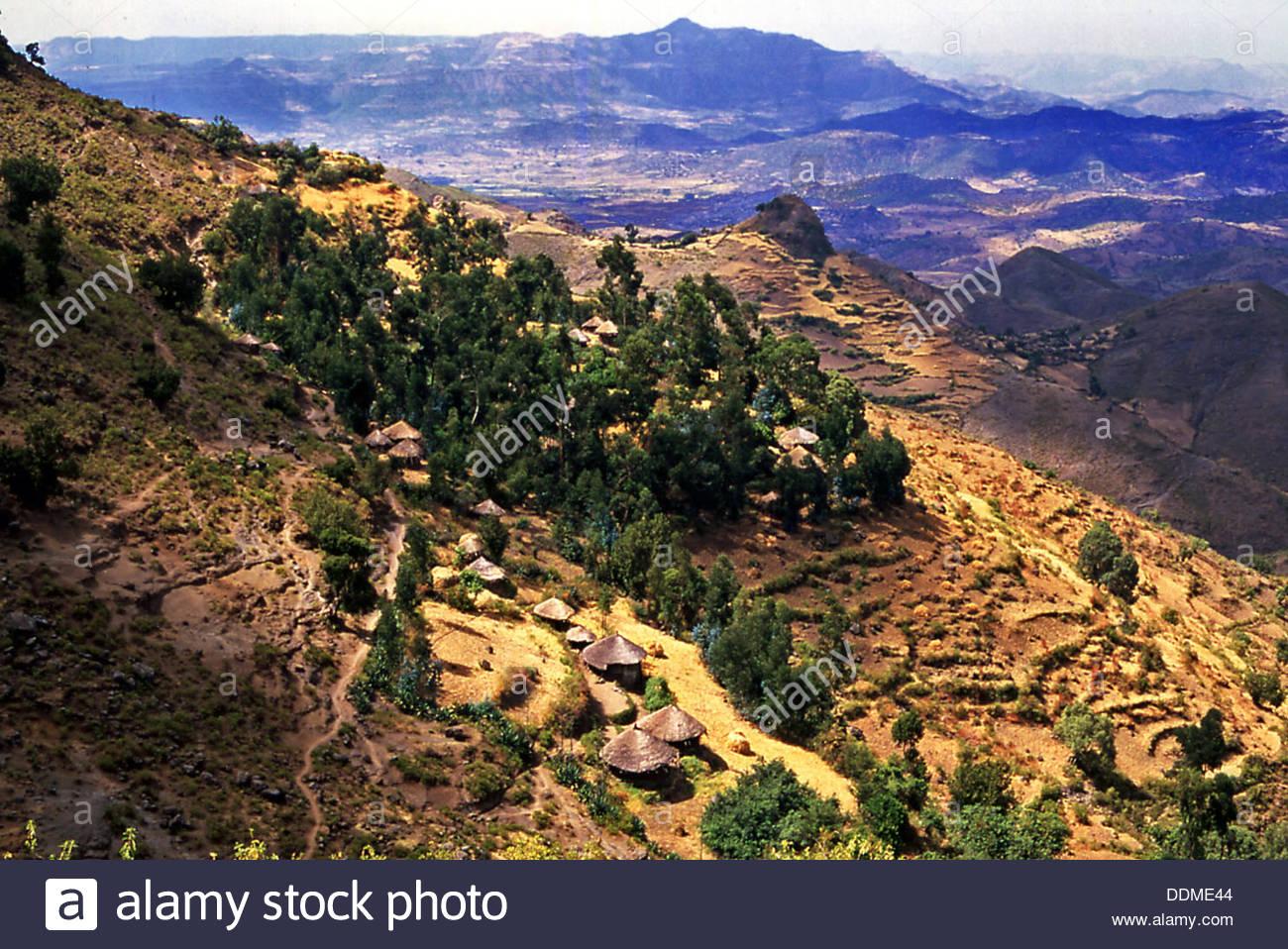 Lasta Mountains, near Lalibela, Ethiopia. Artist: Jacob Lyell - Stock Image