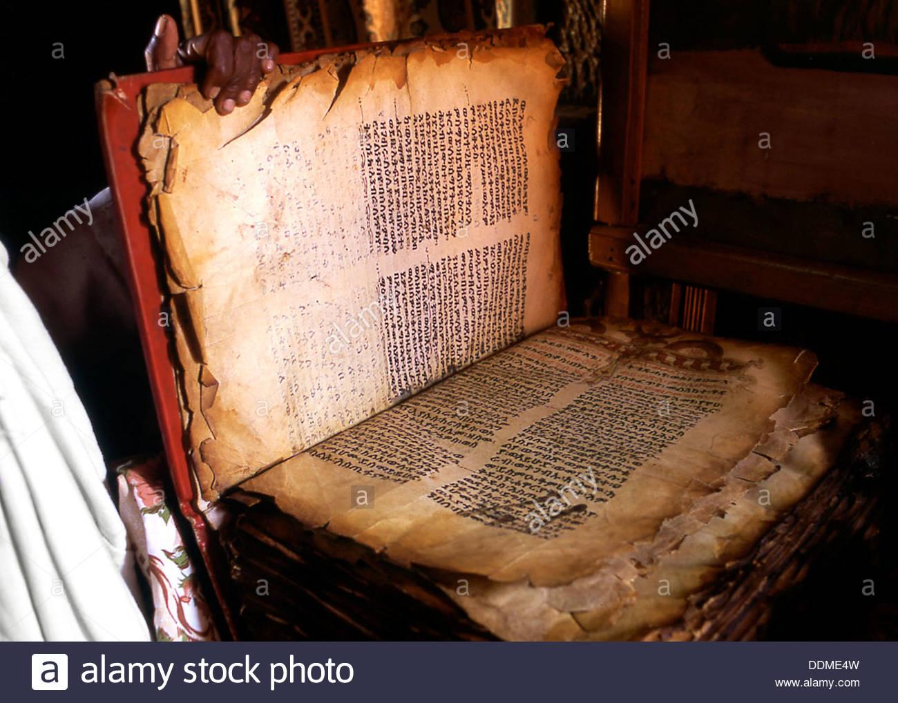 Bible, Lalibela, Ethiopia. Artist: Jacob Lyell - Stock Image