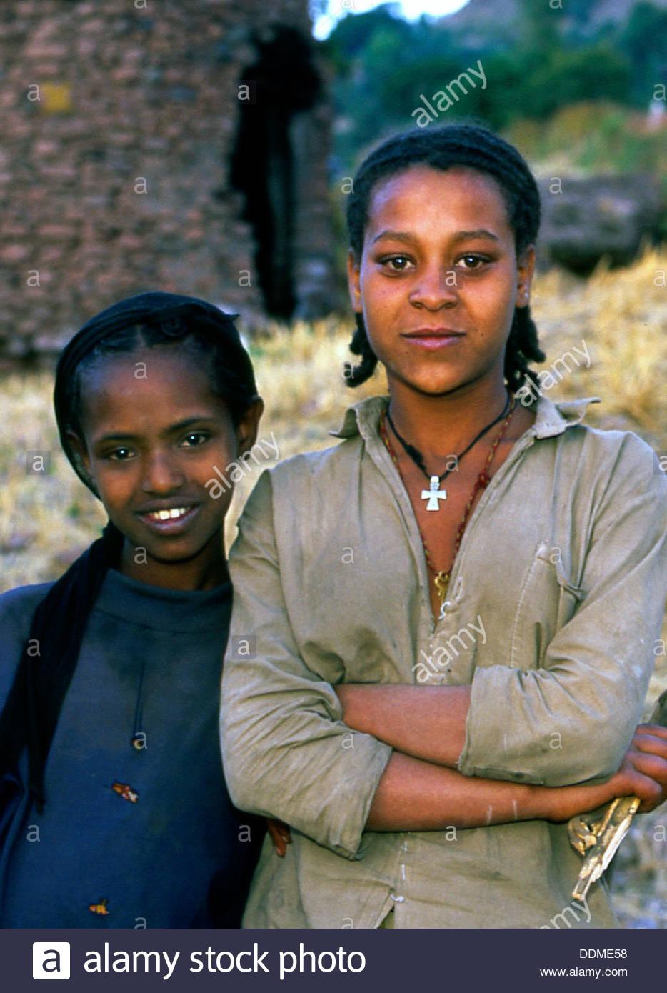 Girls in Lalibela, Ethiopia. Artist: Jacob Lyell - Stock Image