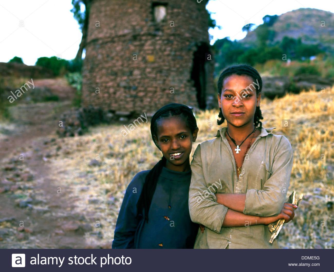 Girls at Lalibela, Ethiopia. Artist: Jacob Lyell - Stock Image