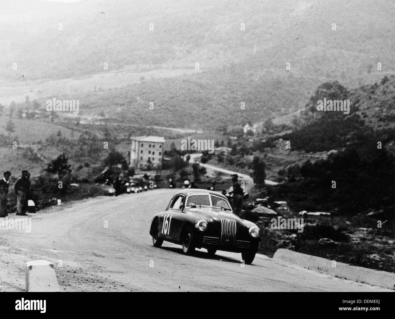 Fiat 1100S Berlinetta competing in the Mille Miglia, Italy, 1947. - Stock Image