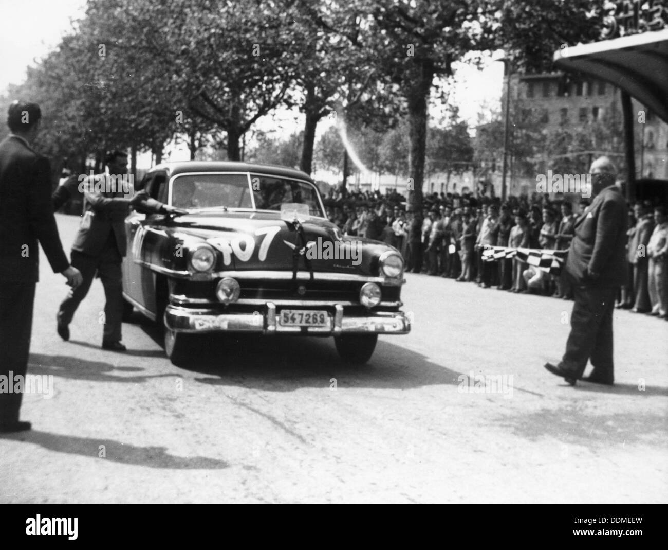 Paul Frere in a Chrysler Saloon V8, in the Mille Miglia, 1953. - Stock Image