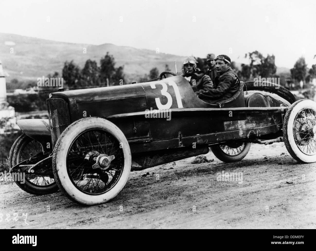 Wild driving an Itala 51, in the Targa Florio race, Sicily, 1922. - Stock Image