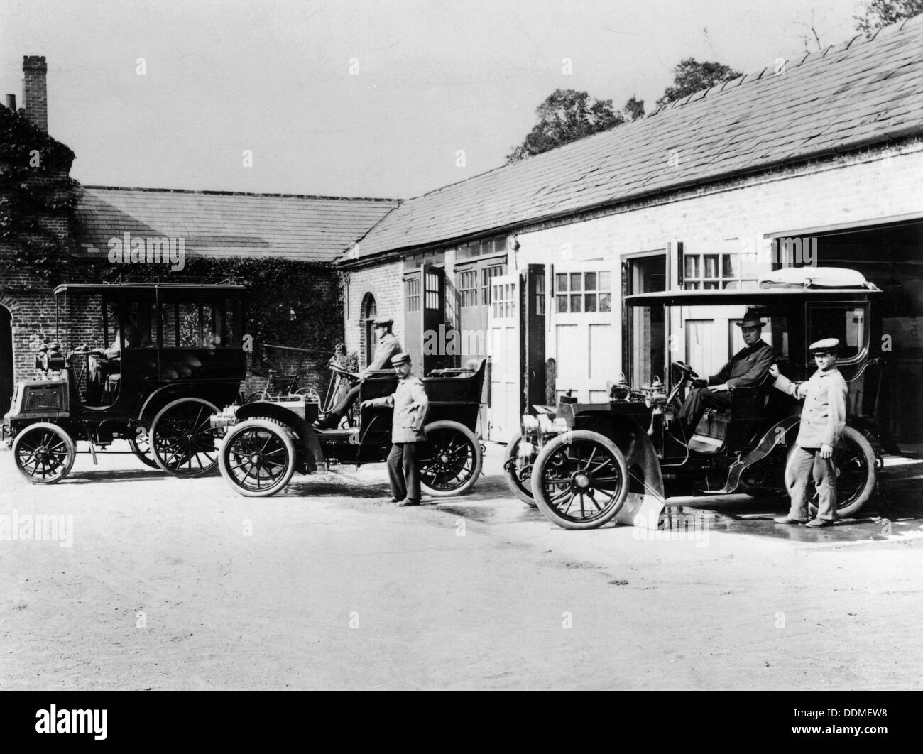 Cars parked at Lord Northcliffe's stable. - Stock Image