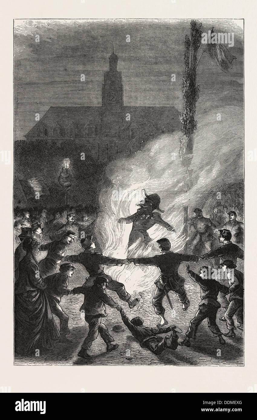 FRANCO-PRUSSIAN WAR: BURNING THE EFFIGY OF NAPOLEON III, 1870 - Stock Image