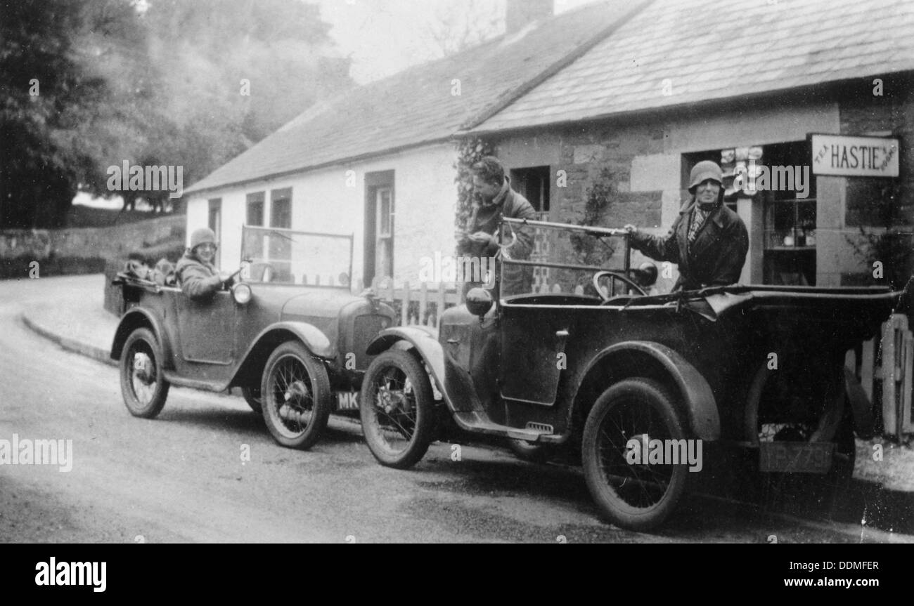 Two Austin Sevens parked outside a small tea shop, c1925. - Stock Image